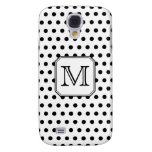 Your Letter Monogram. Black and White Polka Dots. Galaxy S4 Cases