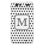 Your Letter Monogram. Black and White Polka Dots. Motorola Droid RAZR Cover