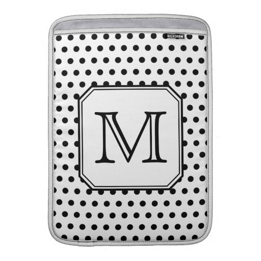 Your Letter Monogram. Black and White Polka Dots. Sleeves For MacBook Air