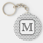 Your Letter Monogram. Black and White Polka Dots. Key Chains