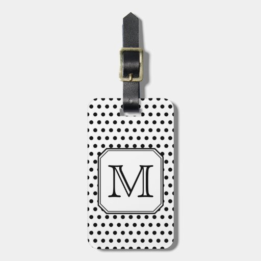 Your Letter Monogram. Black and White Polka Dots. Tags For Bags