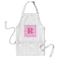 Your Letter Monogram. Custom. Pink Giraffe Pattern Adult Apron