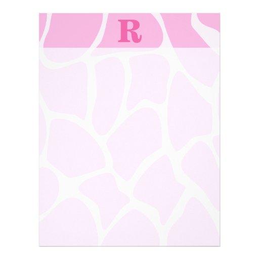 Your Letter Monogram. Custom. Pink Giraffe Pattern Letterhead