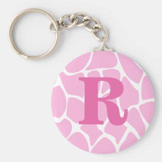 Your Letter Monogram. Custom. Pink Giraffe Pattern Keychains