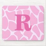 Your Letter Monogram. Custom. Pink Giraffe Pattern Mouse Pad