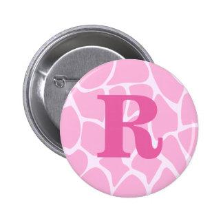 Your Letter Monogram. Custom. Pink Giraffe Pattern Pinback Button