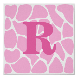 Your Letter Monogram. Custom. Pink Giraffe Pattern Poster