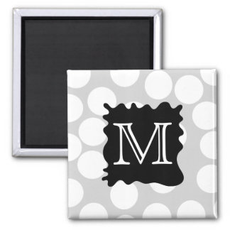 Your Letter, Monogram. Dots with Black Splat. 2 Inch Square Magnet
