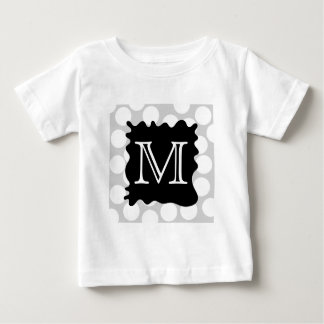 Your Letter, Monogram. Dots with Black Splat. Baby T-Shirt