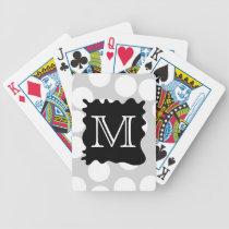 Your Letter, Monogram. Dots with Black Splat. Bicycle Playing Cards