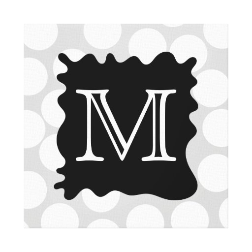 Your Letter, Monogram. Dots with Black Splat. Gallery Wrapped Canvas