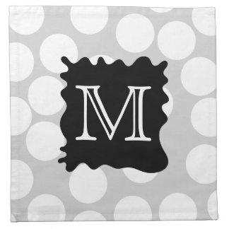 Your Letter Monogram Dots with Black Splat Napkins