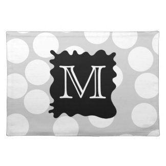 Your Letter, Monogram. Dots with Black Splat. Placemat