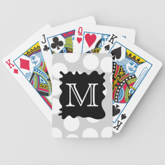 Your Letter Monogram Dots with Black Splat Bicycle Playing Cards