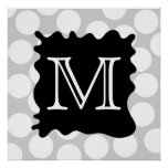 Your Letter, Monogram. Dots with Black Splat. Poster