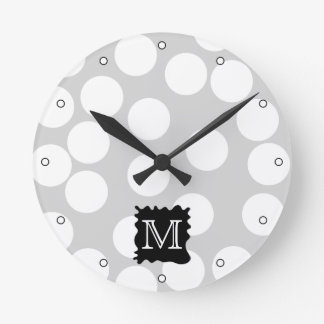 Your Letter, Monogram. Dots with Black Splat. Round Clock