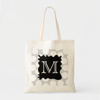 Your Letter, Monogram. Dots with Black Splat. Tote Bag