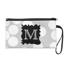 Your Letter, Monogram. Dots with Black Splat. Wristlet Purse