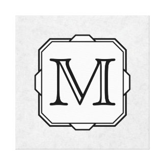 Your Letter. Monogram in Gray, Black and White. Stretched Canvas Prints