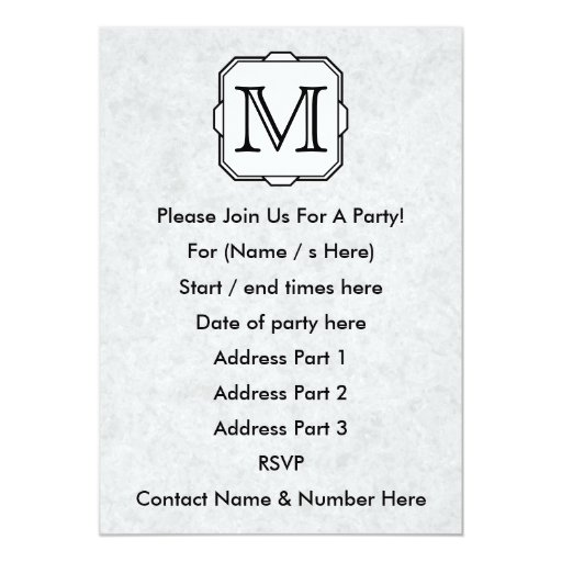 Your Letter. Monogram in Gray, Black and White. Personalized Invites