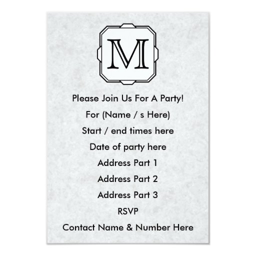 Your Letter. Monogram in Gray, Black and White. 3.5x5 Paper Invitation Card
