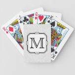 Your Letter. Monogram in Gray, Black and White. Bicycle Poker Cards