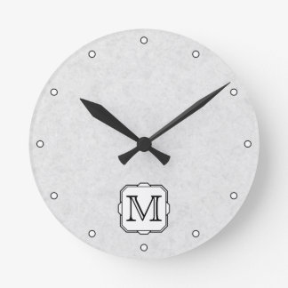 Your Letter. Monogram in Gray, Black and White. Round Clock