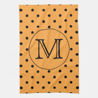 Your Letter Monogram. Orange and Black Polka Dot. Kitchen Towel