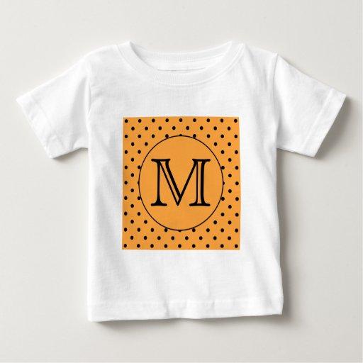 Your Letter Monogram. Orange and Black Polka Dot. Tee Shirt