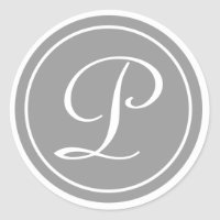 Your Letter, Monogram P, Initial Grey Classic Round Sticker