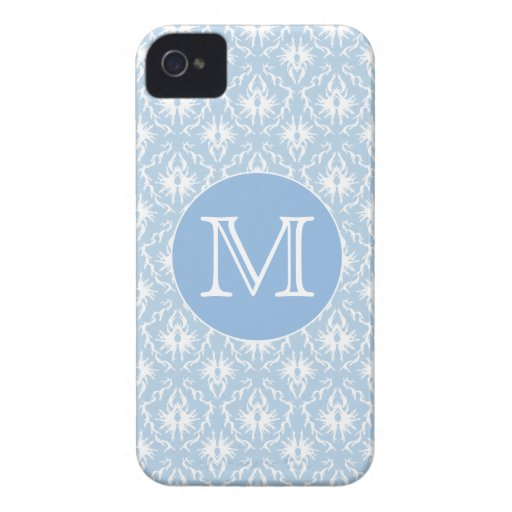 Your Letter, Monogram. Pale Blue Damask Pattern. iPhone 4 Case-Mate Case