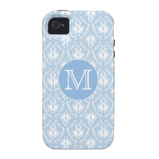 Your Letter, Monogram. Pale Blue Damask Pattern. Case-Mate iPhone 4 Covers