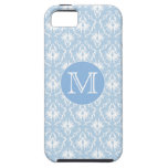 Your Letter, Monogram. Pale Blue Damask Pattern. iPhone 5 Case