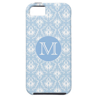 Your Letter, Monogram. Pale Blue Damask Pattern. iPhone 5 Cases