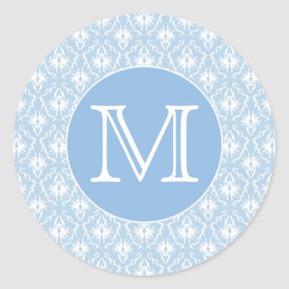 Your Letter, Monogram. Pale Blue Damask Pattern. Classic Round Sticker