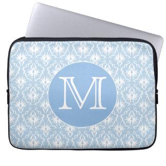 Your Letter, Monogram. Pale Blue Damask Pattern. Computer Sleeve