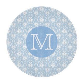 Your Letter, Monogram. Pale Blue Damask Pattern. Cutting Board