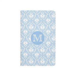 Your Letter, Monogram. Pale Blue Damask Pattern. Journal