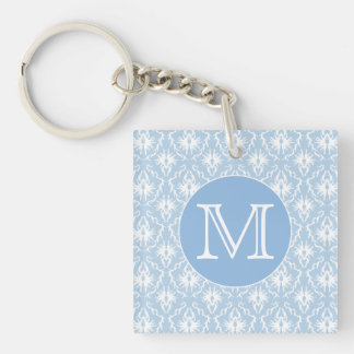 Your Letter, Monogram. Pale Blue Damask Pattern. Single-Sided Square Acrylic Keychain