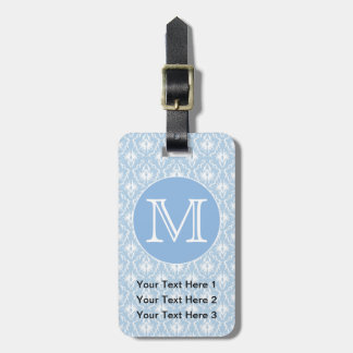 Your Letter, Monogram. Pale Blue Damask Pattern. Luggage Tag