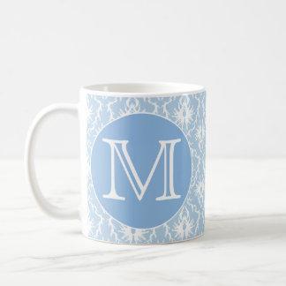 Your Letter, Monogram. Pale Blue Damask Pattern. Mug