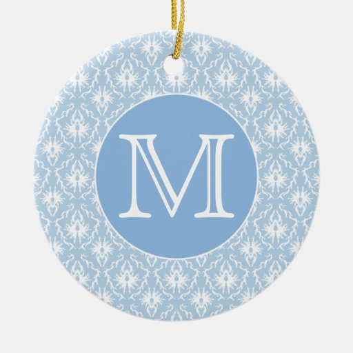 Your Letter, Monogram. Pale Blue Damask Pattern. Double-Sided Ceramic Round Christmas Ornament