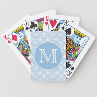Your Letter, Monogram. Pale Blue Damask Pattern. Bicycle Card Deck
