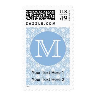 Your Letter, Monogram. Pale Blue Damask Pattern. Stamp