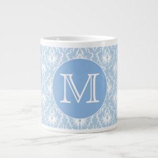 Your Letter, Monogram. Pale Blue Damask Pattern. Jumbo Mugs