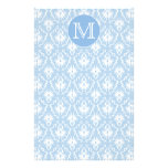 Your Letter, Monogram. Pale Blue Damask Pattern. Stationery