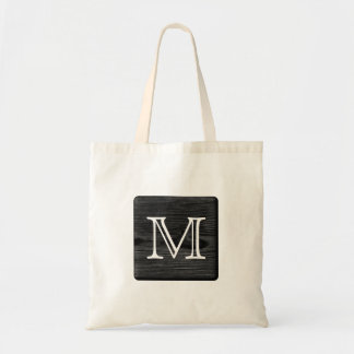 Your Letter Monogram. Picture of Black Wood. Canvas Bag