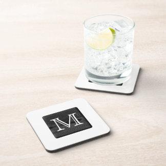 Your Letter Monogram. Picture of Black Wood. Beverage Coaster