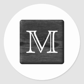 Your Letter Monogram. Picture of Black Wood. Classic Round Sticker