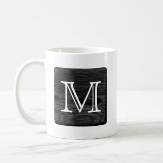 Your Letter Monogram. Picture of Black Wood. Coffee Mug